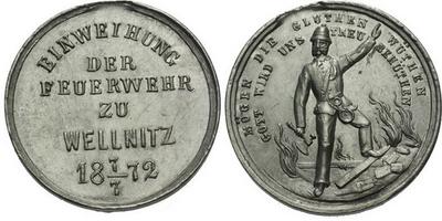 AE Medaile 1872 - Svěcení hasičského sboru. 5-řádkový nápis, datum / Hasič se sekyrk