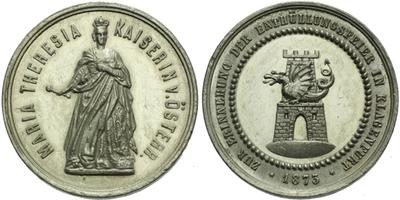 AE Medaile 1873 - Na památku oslav odhalení pomníku Marie Terezie v Klagenfurtu, Sn 3