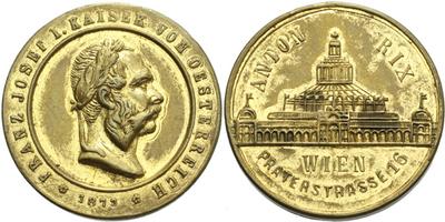 AE Medaile 1873 - Světová výstava ve Vídni, medaile firmy Anton Rix Wien, Br 29 mm