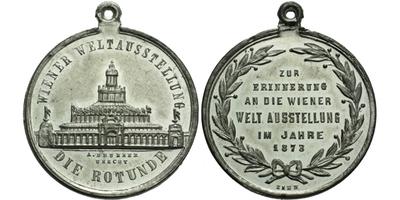 AE Medaile 1873 - Světová výstava ve Vídni, Cín 33 mm, pův. ouško