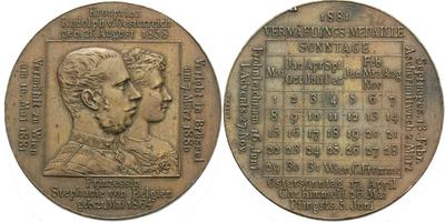 AE Medaile 1881 (J. Tautenhayn) - Svatební medaile se Štěpánkou Belgickou, Cu 37 mm