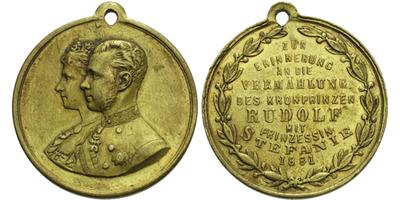 AE Medaile 1881 - Svatební medaile se Štěpánkou Belgickou, Br 30 mm, pův. ouško