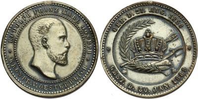 AE Medaile 1889 - Úmrtní medaile, Postř. Br 26 mm, odstr. ouško