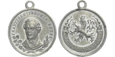 AE Medaile 1863 - František Jaromír Rubeš, původní ouško, Sn 26 mm (5,5 g)