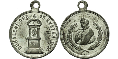 AE Medaile 1870 - Odhalení pomníku Karla Havlíčka Borovského, Sn 24 mm, pův. ouško
