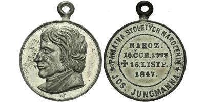 AE Medaile 1873 - 100. výročí narození Josefa Jungmanna, Sn 27 mm, pův. ouško
