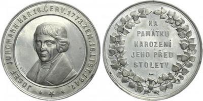 AE Medaile 1873 (Kříž) - Josef Jungmann, Na památku jeho narození před sto l