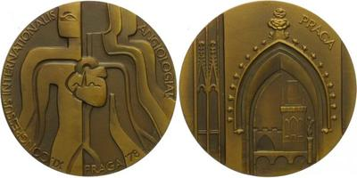 AE Medaile 1978 - XI. Mezinádodní Angiologický kongres v Praze, etue, 70 mm