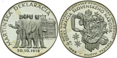 AR Medaile 1988 - Deklarácia Slovenského národa 30. 10. 1918, SNS pobočka Martin, Ag