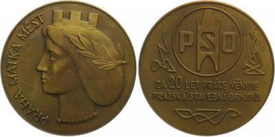 AE Medaile b.l. - Za 20 let práce, Pražská stavební obnova, etue, 60 mm