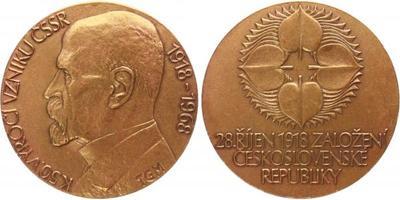 AE Medaile 1968 - 50. výročí vzniku ČSSR 1918 - 1968, pobronzovaný tombak, 60 mm (80
