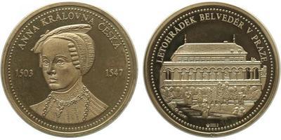 Medaile b.l. - Královna Anna / Letohrádek Belvedér, Ag 0,9999