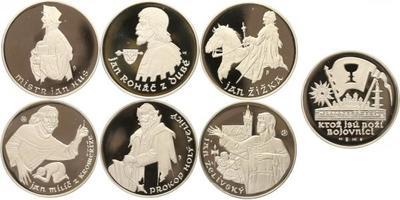 Sada 6 stříbrných medailí b.l. se společným reversem - Doby husitské