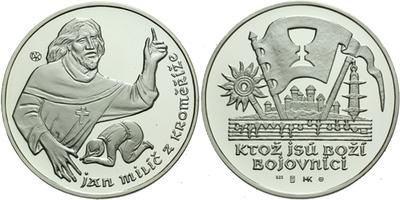 AR Medaile b.l. - Jan Milíč z Kroměříže, plastová bublina, Ag 0,925, 40 mm (20,7 g),