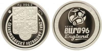 AR Medaile - ME vefotbale 1996 - EURO 1996, Ag 0,999, 34 mm (16 g), kapsle, etue, PRO