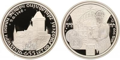 AR Medaile b.l. - 655 let od položení základního kamene hradu Karlštejn, Ag 0,999, 50