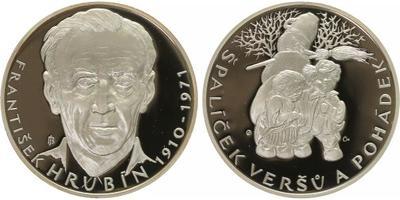 AR Medaile b.l. - 100. výročí narození Františka Hrubína, Ag 0,999, 50 mm (42 g), kap
