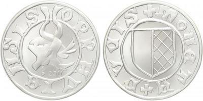 AR Medaile 2011 - replika stříbrného haléře vévody Opavského, Ag 0,999, 40 mm (29 g),