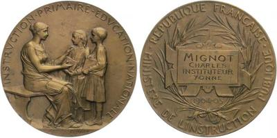 AE Medaile 1904/5 (O.Roty) - Medaile ministerstva školství, Br 50 mm (64,5 g)