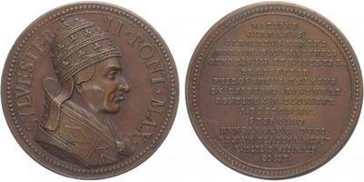 AE Medaile b.l. - Papež Sylvester II., funkční období 999 - 1003 , Cu, 37,5 mm