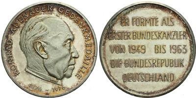 AR Medaile 1976 - 100. výročí narození Konráda Adenaura, Ag 1000 (9,76 g)