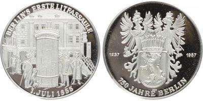 AR Medaile 1987 - 750. výroří zaležení Berlína, Ag 0,999 (20,14 g), PROOF