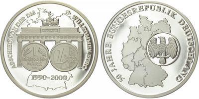 AE Medaile 2000 - 10. výročí sjednocení Německa / loučení s Markou a vítání Eura, 40