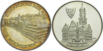 AR Medaile b.l. - Pamětní medaile města Biberach an der Riss, Ag 0,9999, 34 mm (17,36