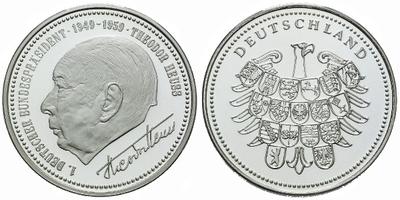 AR Medaile b.l. - Theodor Heuss, Ag (bez označení ryzosti), 30 mm (10 g), PROOF