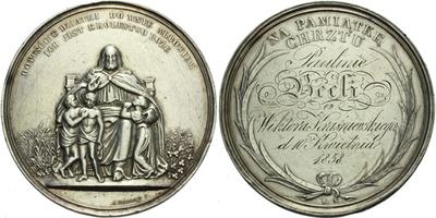 AR Medaile 1858 (J. Herkner) - Medaile na památku křtu, doryto jméno Paulinie Beeli o