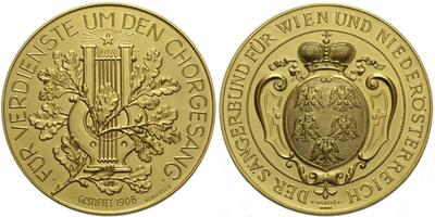 AE Medaile 1908 (Neuberger) - Dolnorakouský pěvecký spolek, bronz pozlacená, 46 mm