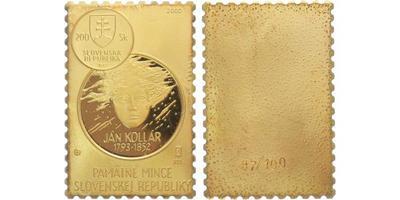 AR Medaile 2000 - 200. výročí narození Jána Kolára, Pozlac. Ag 0,925, 20 x 30 mm (7,5