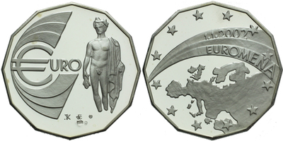 AR Medaile 2002 - Euroměna 1. 1. 2002, etue a certifikát, 40 mm, Ag 0,999 (30,5 g), P