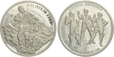 AR medaile b. l. - Wilem Tell / Dějiny Švýcarska - Rütlischvur 1291, 40 mm (26,8 g),