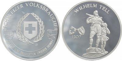 AR medaile b. l. - Wilem Tell se synem / Švýcarský erb s ratolestmi, Ag 0,999, 40 mm