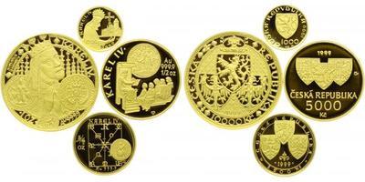 Sada zlatých mincí Karel IV. 1999 - 10000 Kč Založení Nového města Pražského, PROOF