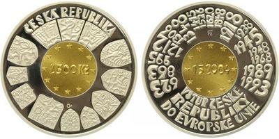 2500 Kč 2004 - Vstup České republiky do Evropské unie, Au 0,999 (7,776 g), Ag 0,999 (