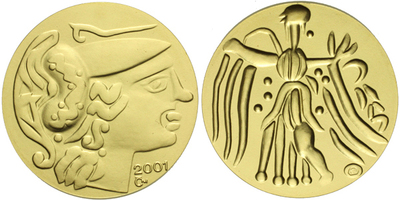 Medaile 2001 - Zlatý statér, Au 0,9999 (7,78 g), běžná kvalita