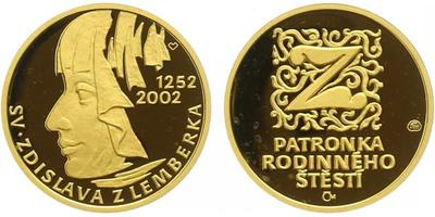 Medaile 2002 - Svatá Zdislava - patronka rodinného štěstí, Au 0,9999, 19 mm (3,49 g),