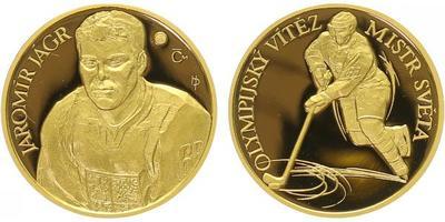 Medaile 2007 - Jaromír Jágr - mistr světa a olympijský vítěz, Au 0,9999, 22 mm (7,78