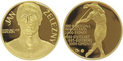 Medaile 2007 - Jan Železný, Au 0,9999, 22 mm (7,78 g), 1/4 Oz, etue, cerifikát, PROOF