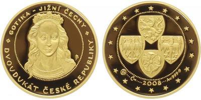 Dvoudukát ČR 2008 - Gotika, Au 0,999 (7,78 g), průměr 22 mm