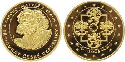 Pětidukát ČR 2008 - Baroko - Matyáš B. Braun, Au 0,999 (15,56 g), průměr 28 mm, etue