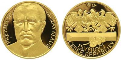 Medaile 2008 - Václav Klaus a 15. výročí vzniku ČR