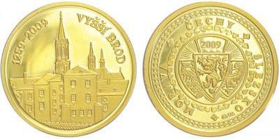 Medaile 2009 - Vyšší Brod 1259 - 2009, Au 0,585, 20 mm (3,5 g), etue, certifikát, PRO