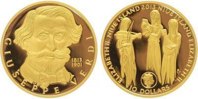 Medaile 2013 - Giuseppe Verdi, etue a certifikát, Au 0,9999, 38 mm (15,56 g), PROOF