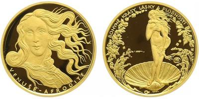 Medaile b.l. - Afrodita - bohyně lásky, Au 0,9999, 19 mm (3,49 g), kapsle, certifikát