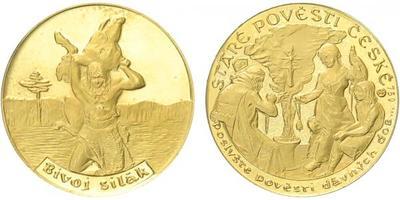 Medaile b.l. - Staré pověsti České - Bivoj silák, PROOF