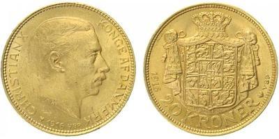 Dánsko, 20 Koruna 1916, Au 0,900