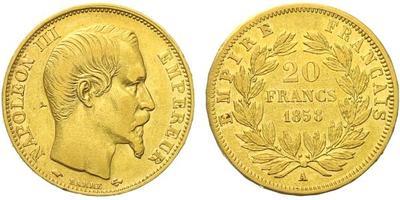 Francie, 20 Frank 1858 A, Paříž, Au 0,900